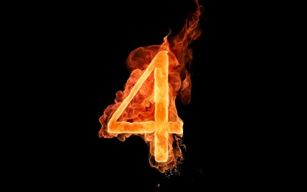 Flaming-Fiery-Number-4-Wallpaper